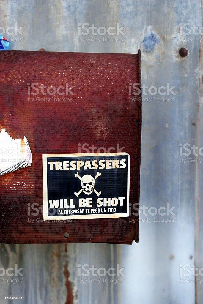 Trespassers will be shot royalty-free stock photo