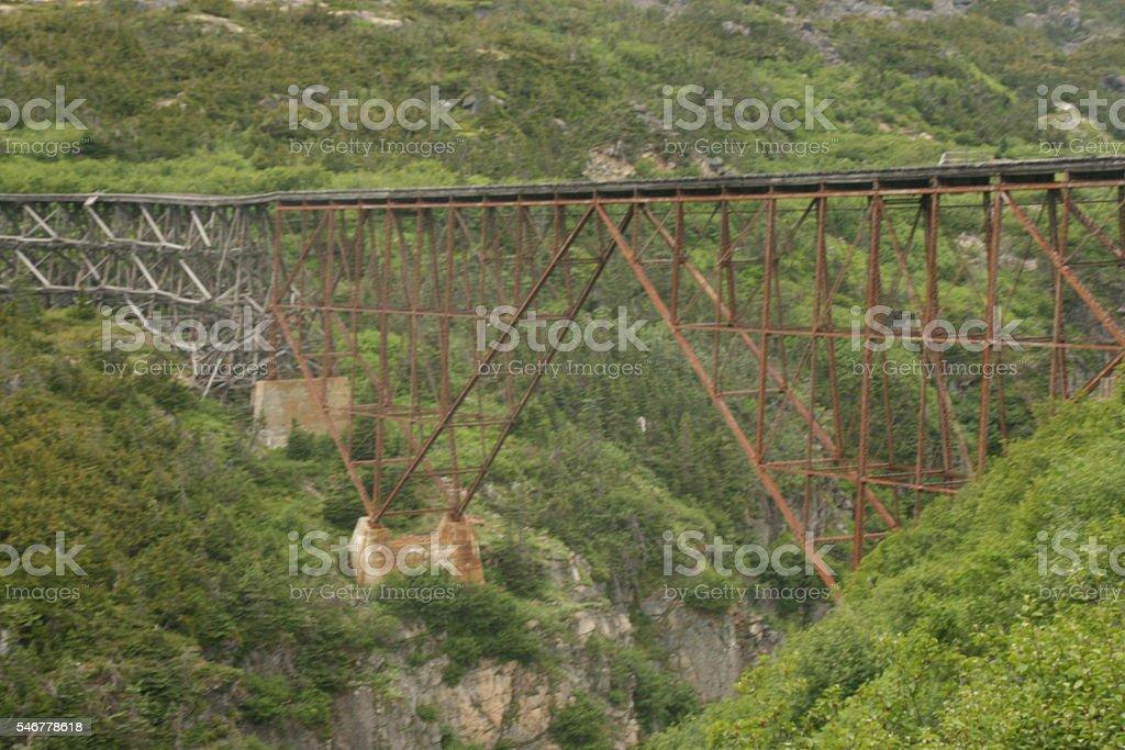 Trestle Bridge Spanning Gorge In Mountainous Terrain stock photo