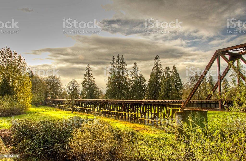 Эстакада Железнодорожный мост с серо - Стоковые фото Стоковая фотография