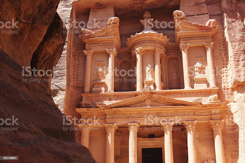 Tresury building in Petra Jordan stock photo