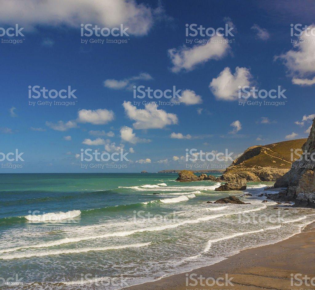 Trevaunance Cove Beach stock photo