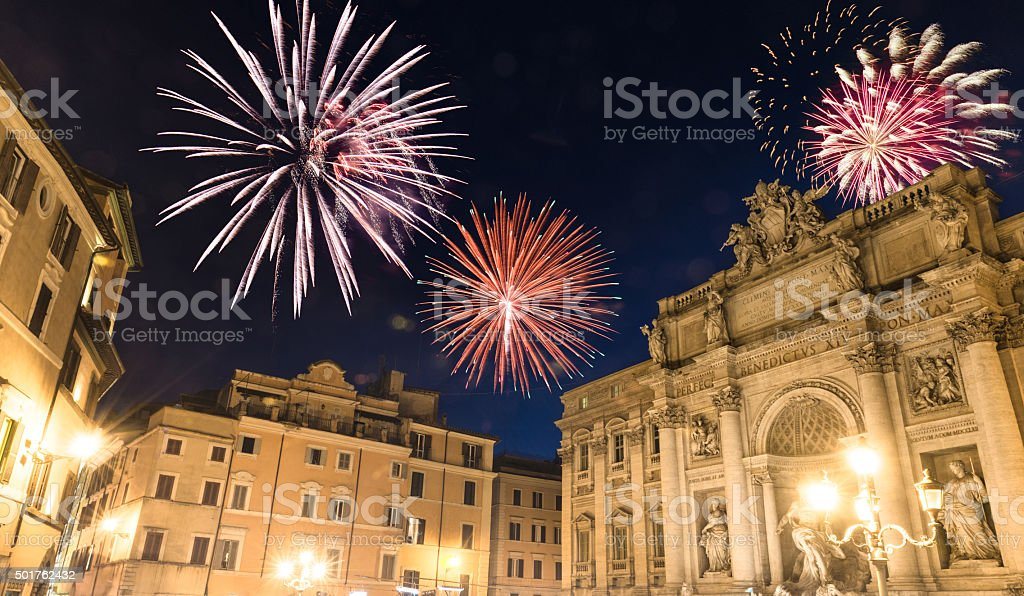 Trevi fountain at night during the new year stock photo