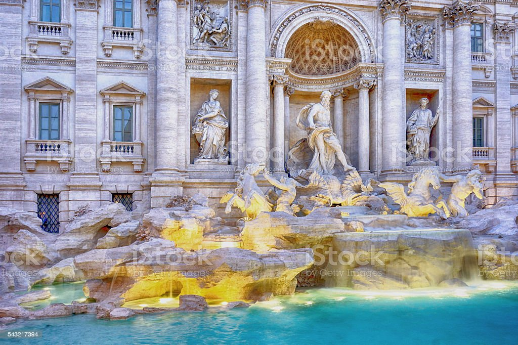 Trevi fountain at night Rome, Italy stock photo