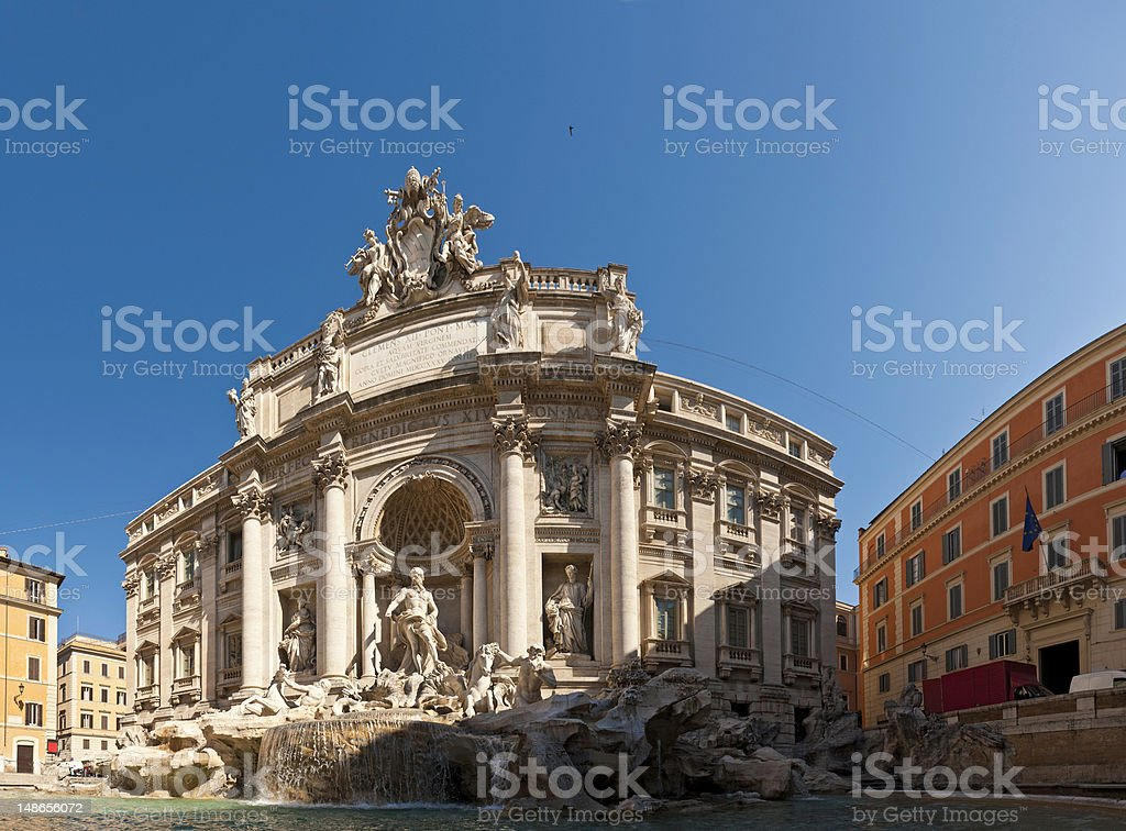 Trevi Fountain iconic landmark Quirinale Rome Italy stock photo