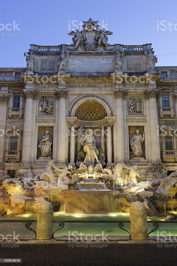 Trevi Fountain iconic Roman landmark piazza statue dawn Rome Italy stock photo