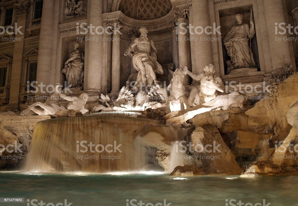 Trevi Fountain in rome by night stock photo