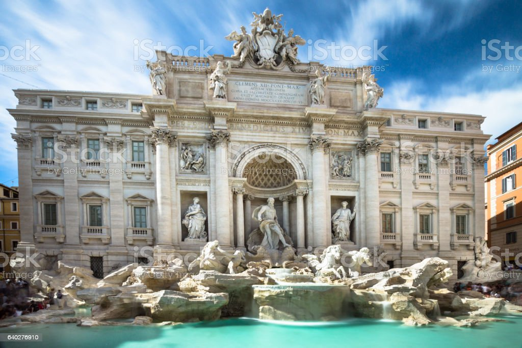 Fontana di Trevi in rome in summer stock photo