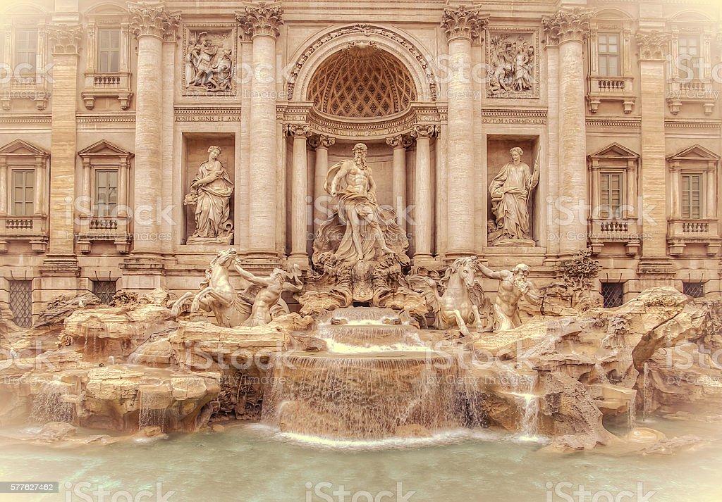 Trevi Fountain (Fontana di Trevi) in Rome Italy. stock photo