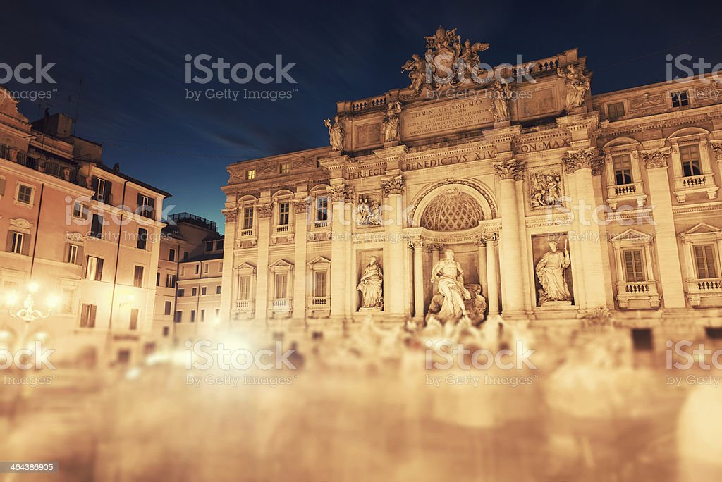 Trevi fountain in Rome with tourist royalty-free stock photo