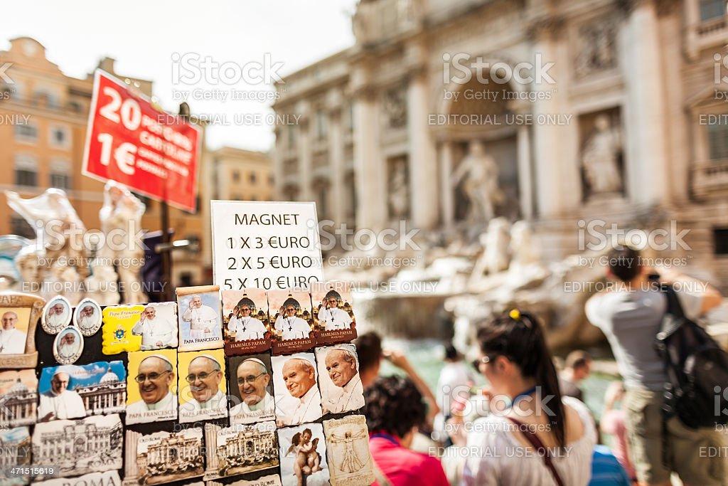Trevi Fountain Pope souvenirs in Rome stock photo