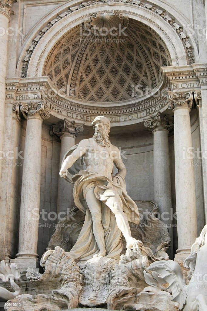 Trevi fountain, Statue of Neptune royalty-free stock photo