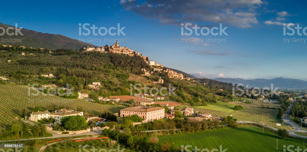 Trevi, Umbria, Italy: aerial photo stock photo
