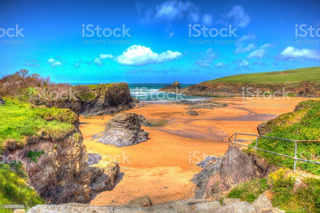 Trevone Bay North Cornwall England UK Colourful bright HDR stock photo