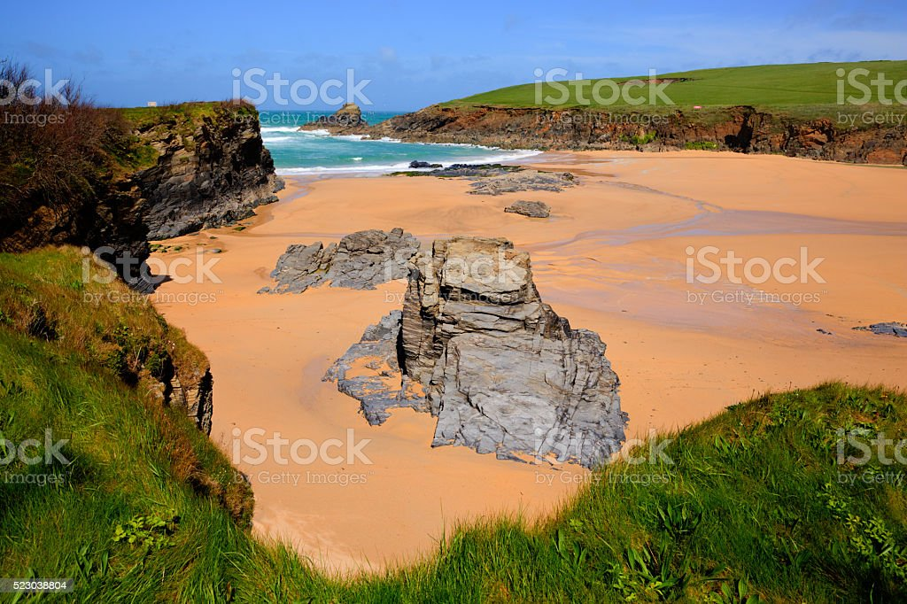 Trevone Bay North Cornwall England UK near Padstow and Newquay stock photo