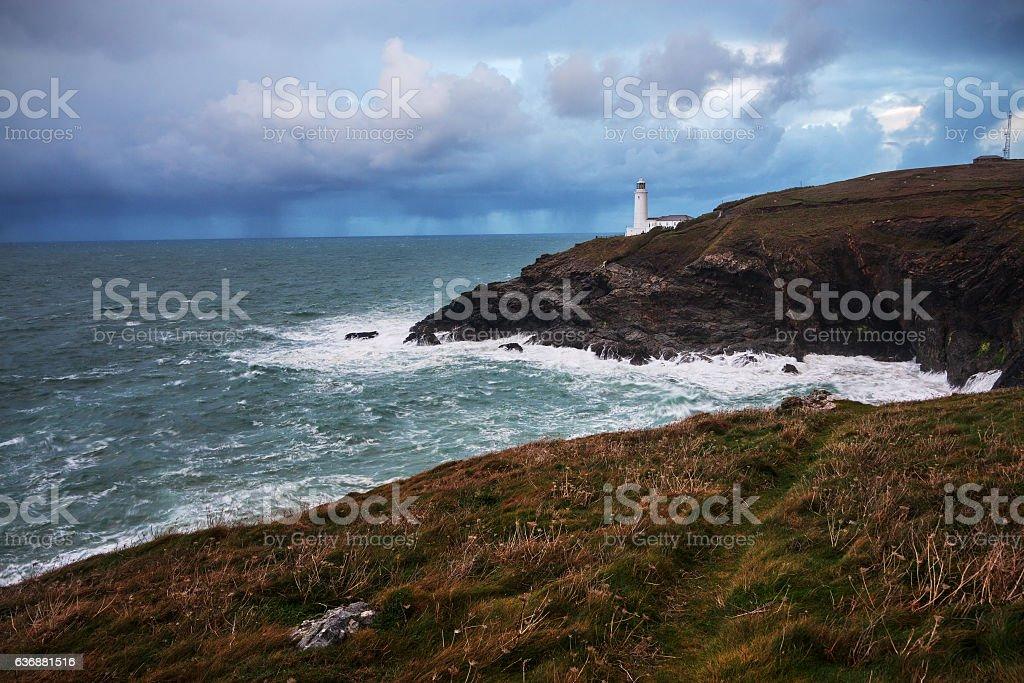 Trevose Head Lighthouse in Cornwall, England. stock photo