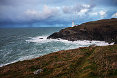 Trevose Head Lighthouse in Cornwall, England.
