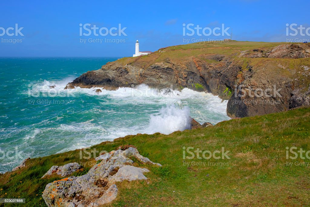 Trevose Head Lighthouse North Cornwall coast between Newquay and Padstow stock photo