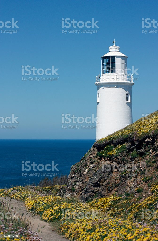 Trevose lighthouse in North Cornwall stock photo