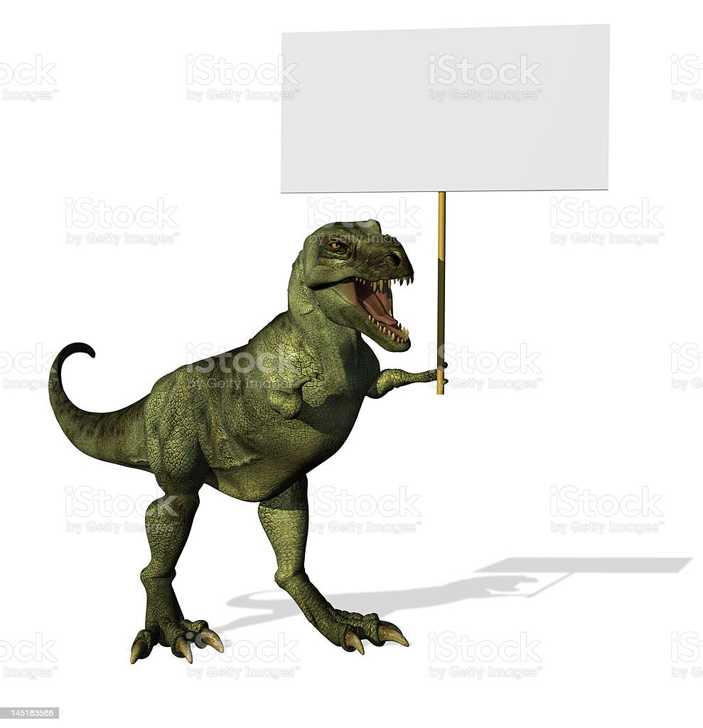 T-Rex with Blank Sign royalty-free stock photo