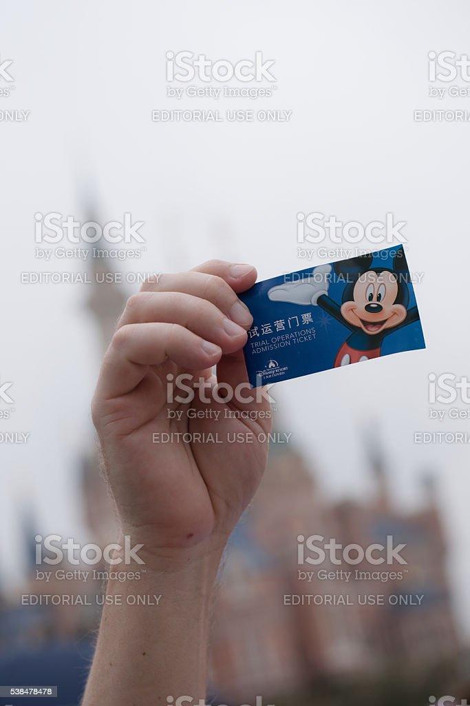 Trial operaton ticket to Shanghai Disneyland Park stock photo