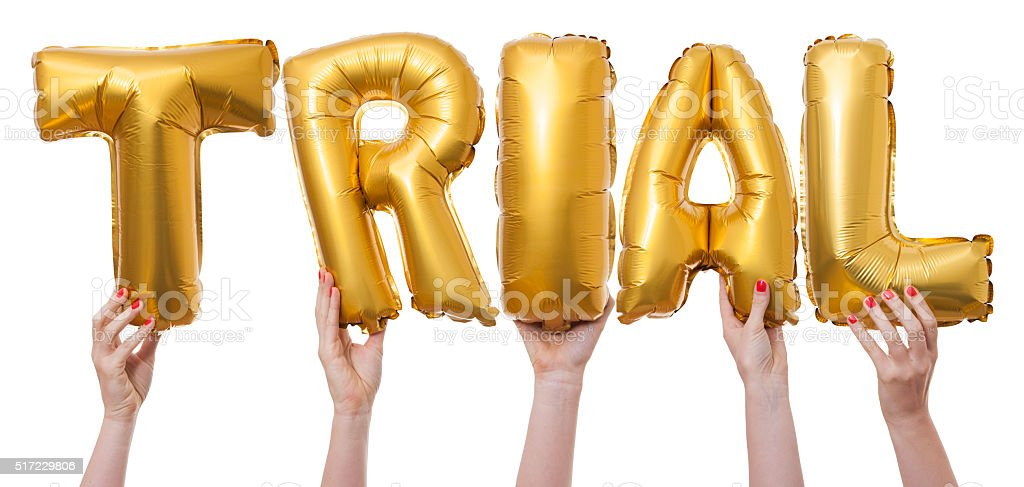 Trial word made from gold balloons stock photo