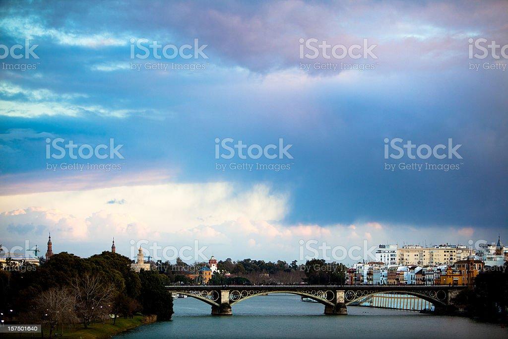 Triana Bridge at Sunset royalty-free stock photo