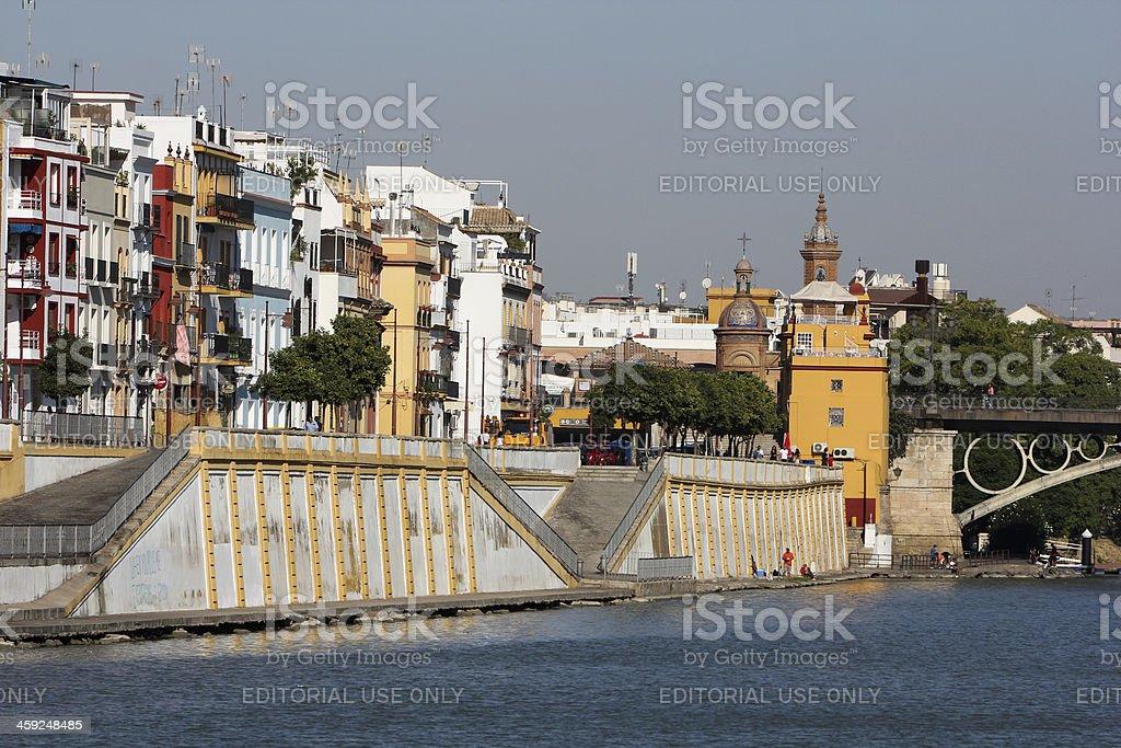 Triana Bridge in Seville, Spain stock photo