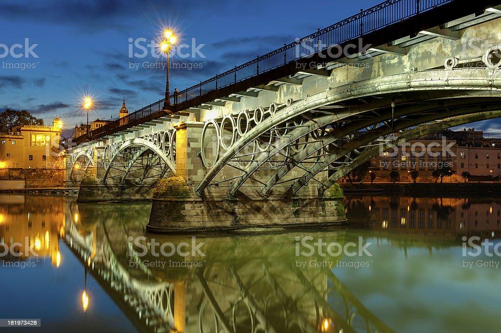 Triana Bridge Sevilla at dusk royalty-free stock photo