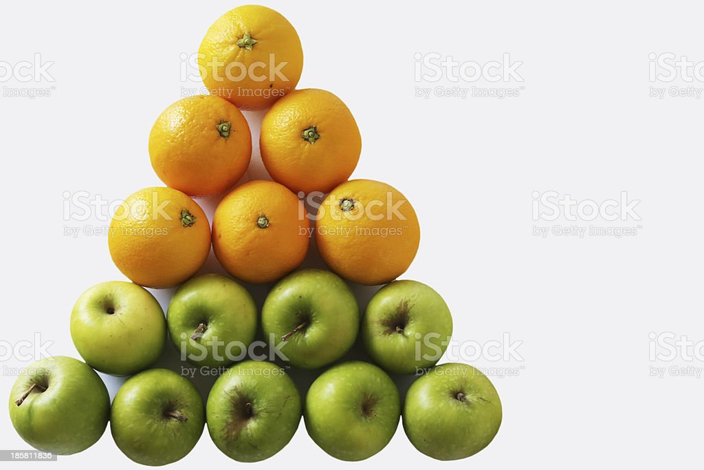 Triangle Apples and Oranges stock photo