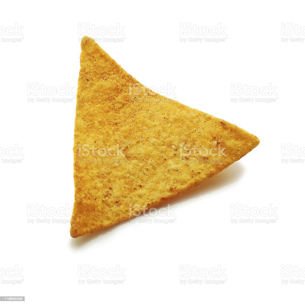 A triangle golden potato chip isolated on white stock photo