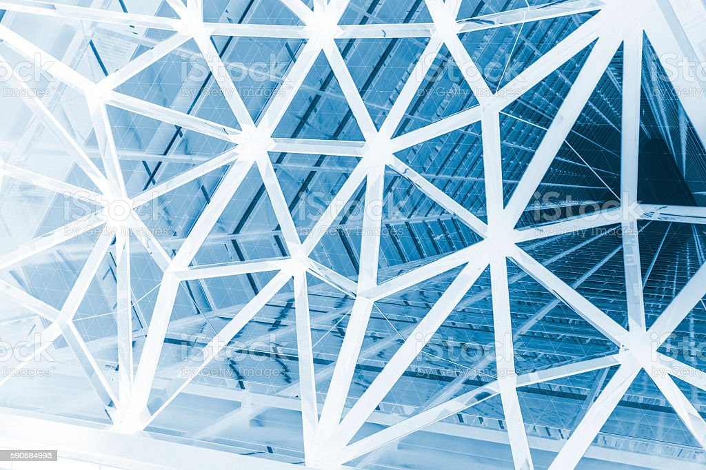 triangle latticework and modern architecture, abstract background stock photo