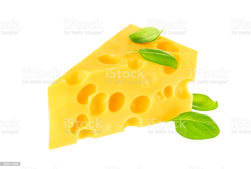 Triangle of cheese isolated on a white background. stock photo