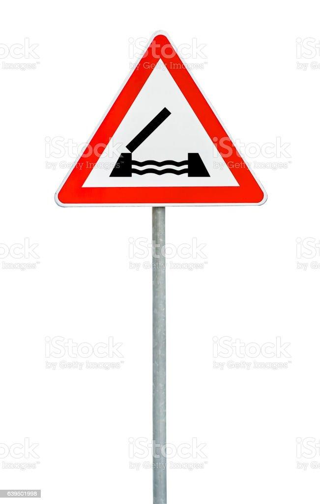 Triangle on rod road sign swing bridge stock photo