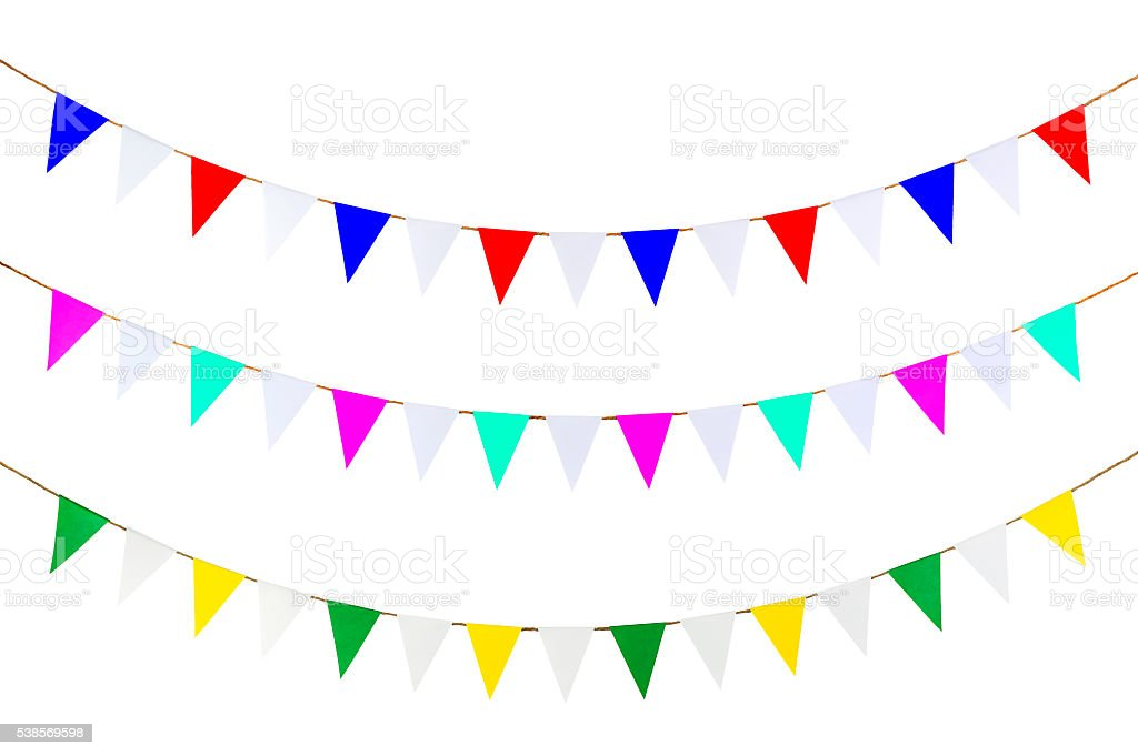 Triangle papers hanging on the rope. stock photo