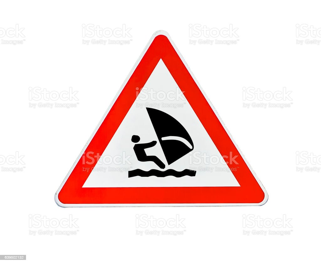 Triangle road sign boat sailing stock photo