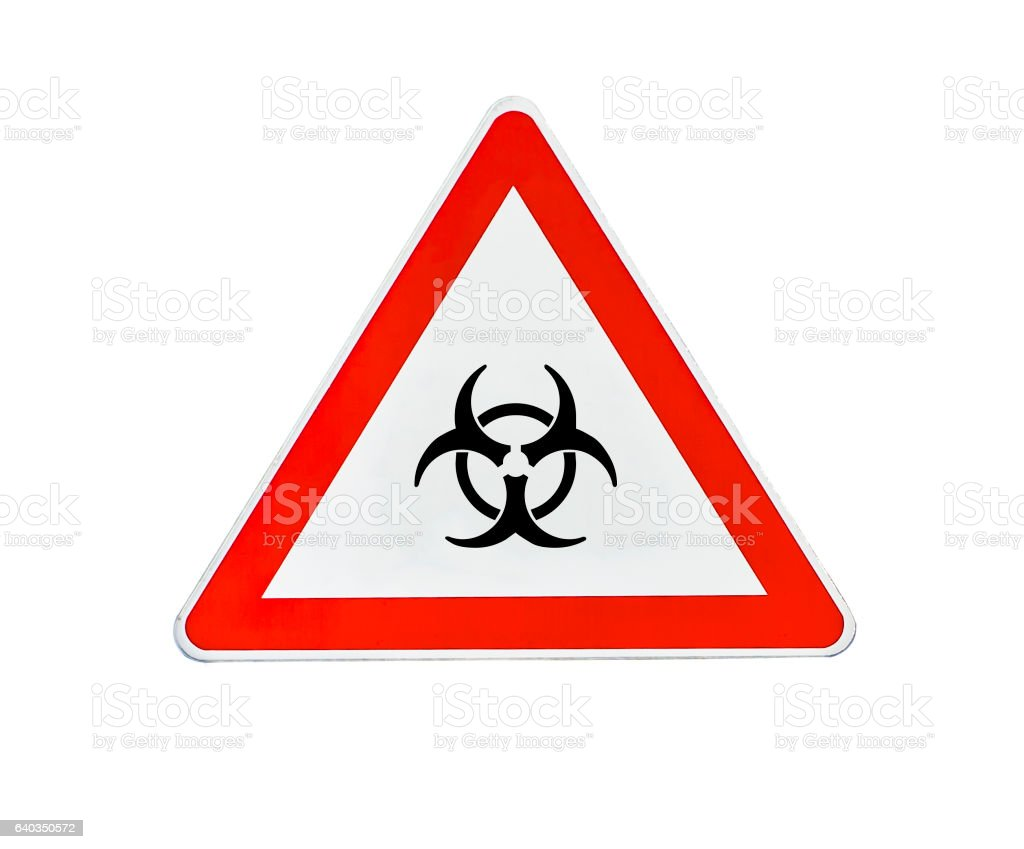 Triangle road sign radiation danger stock photo