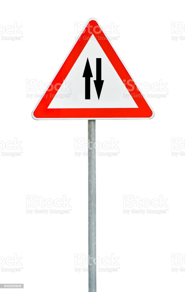 Triangle road sign two way traffic on rod stock photo