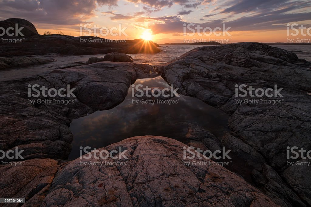 Triangle shaped pond at Taakionluodot island, Russia, Karelia stock photo