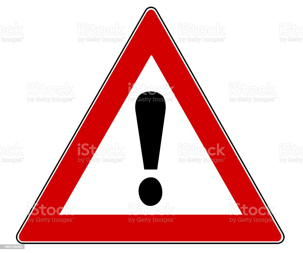 Triangle traffic sign with red border and black ! stock photo