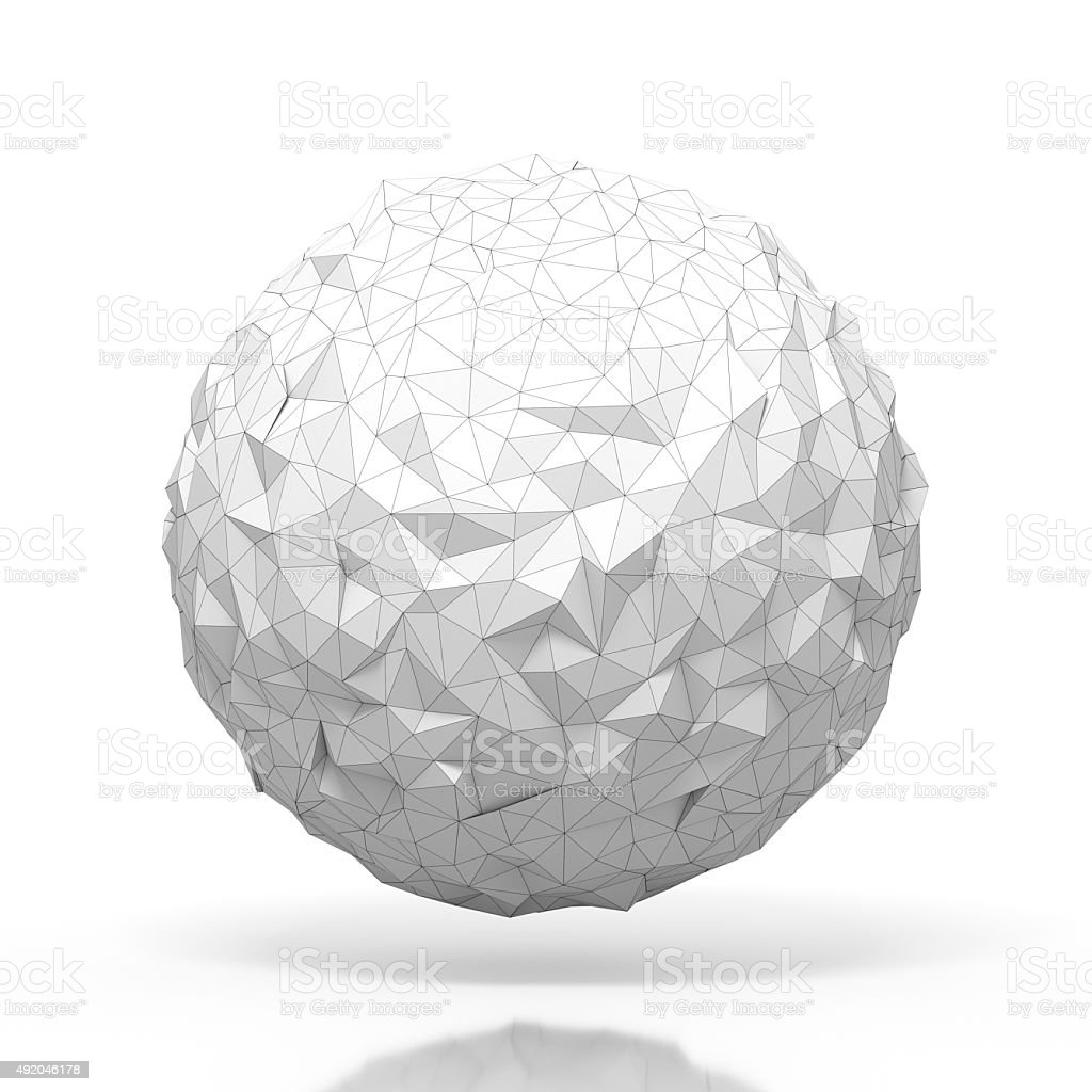 triangular 3D sphere isolated with clipping path stock photo