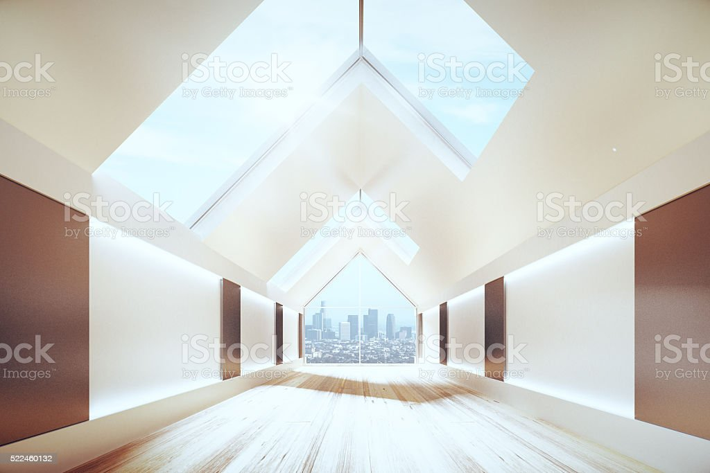 Triangular ceiling in empty hall with loft interior stock photo