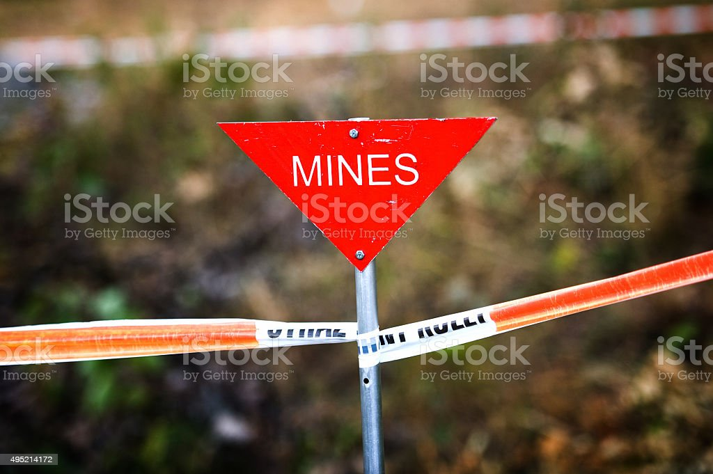 Triangular 'mines' sign stock photo