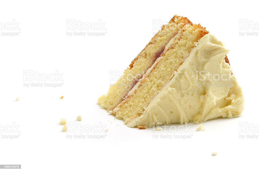 Triangular piece of cake over white background stock photo