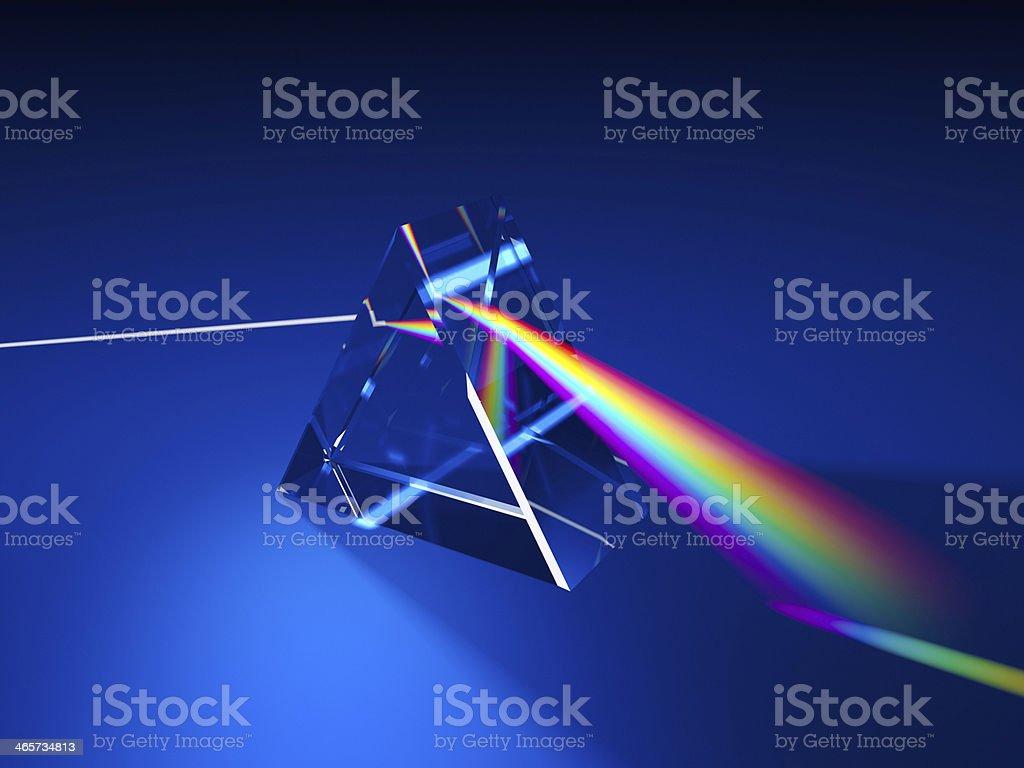 Triangular prism dispersing light stock photo