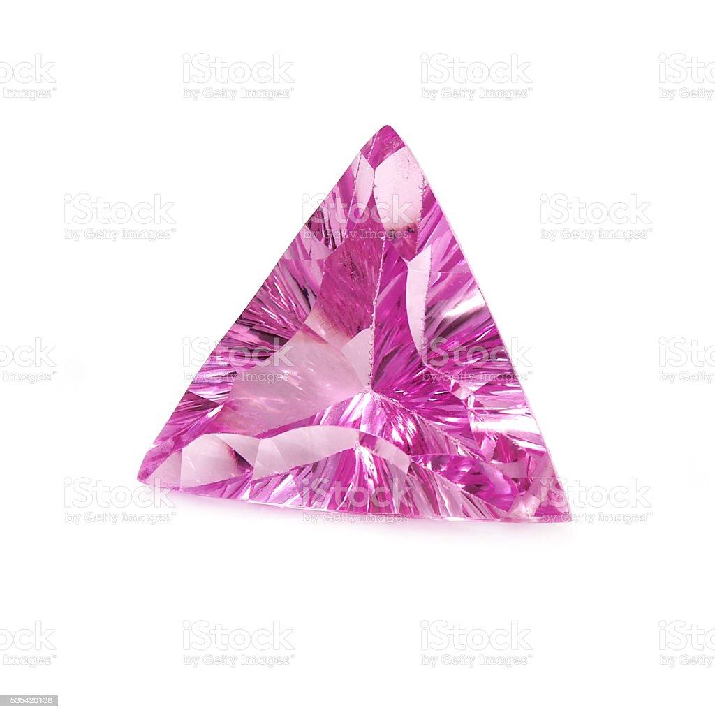 Triangular Shaped Pink Sapphire stock photo