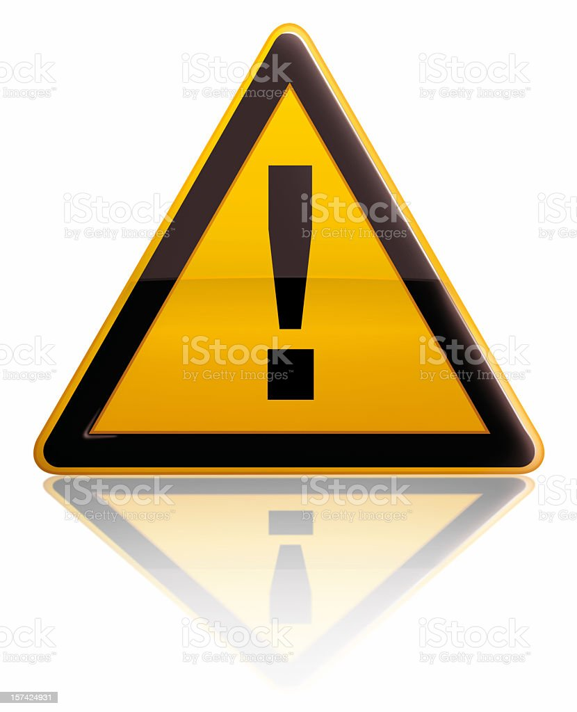 Triangular yellow and black warning sign stock photo