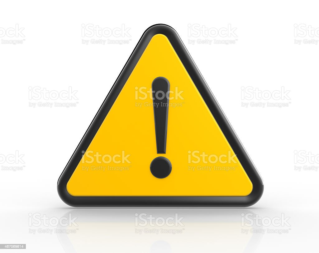 A triangular yellow road sign with exclamation mark stock photo