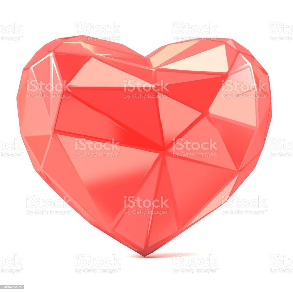Triangulated glossy heart shape. 3D render stock photo
