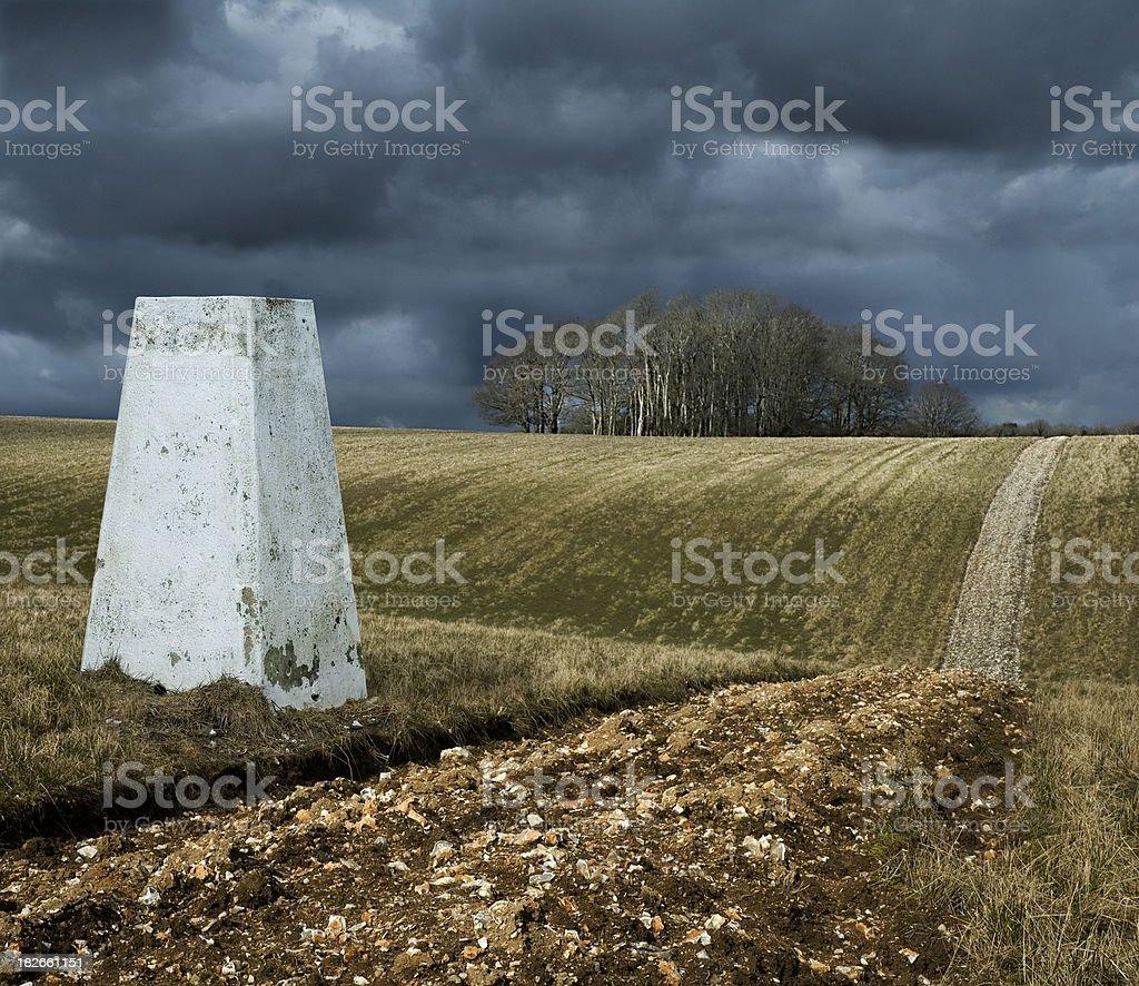 Triangulation pillar stock photo