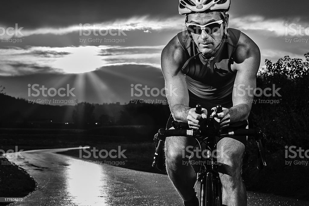 triathlet on a bicycle royalty-free stock photo